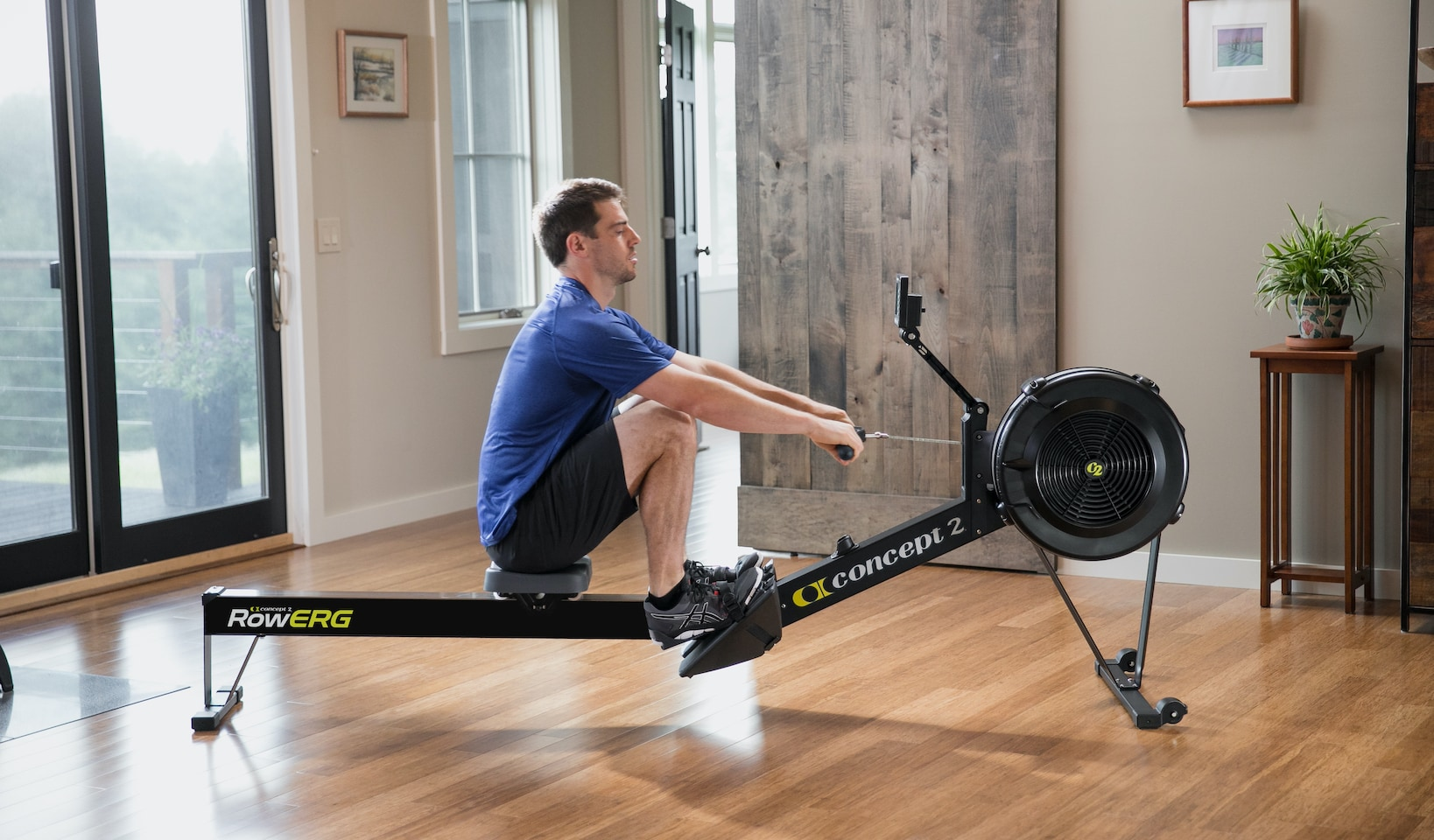 RowErg with male rowing