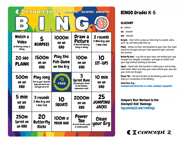Concept2 BINGO board for kids grades Kindergarten-5th grade. Click to open a full-size image you can print.