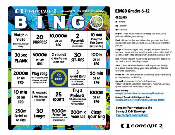 Concept2 BINGO board for kids grades 6-12. Click to open a full-size image you can print.